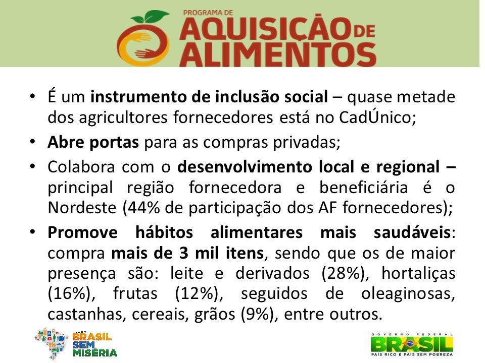 É um instrumento de inclusão social – quase metade dos agricultores fornecedores está no CadÚnico; Abre portas para as compras privadas; Colabora com