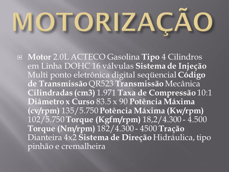 Motor 2.0L ACTECO Gasolina Tipo 4 Cilindros em Linha DOHC 16 válvulas Sistema de Injeção Multi ponto eletrônica digital seqüencial Código de Transmiss