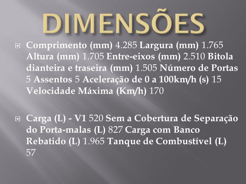 Comprimento (mm) 4.285 Largura (mm) 1.765 Altura (mm) 1.705 Entre-eixos (mm) 2.510 Bitola dianteira e traseira (mm) 1.505 Número de Portas 5 Assentos