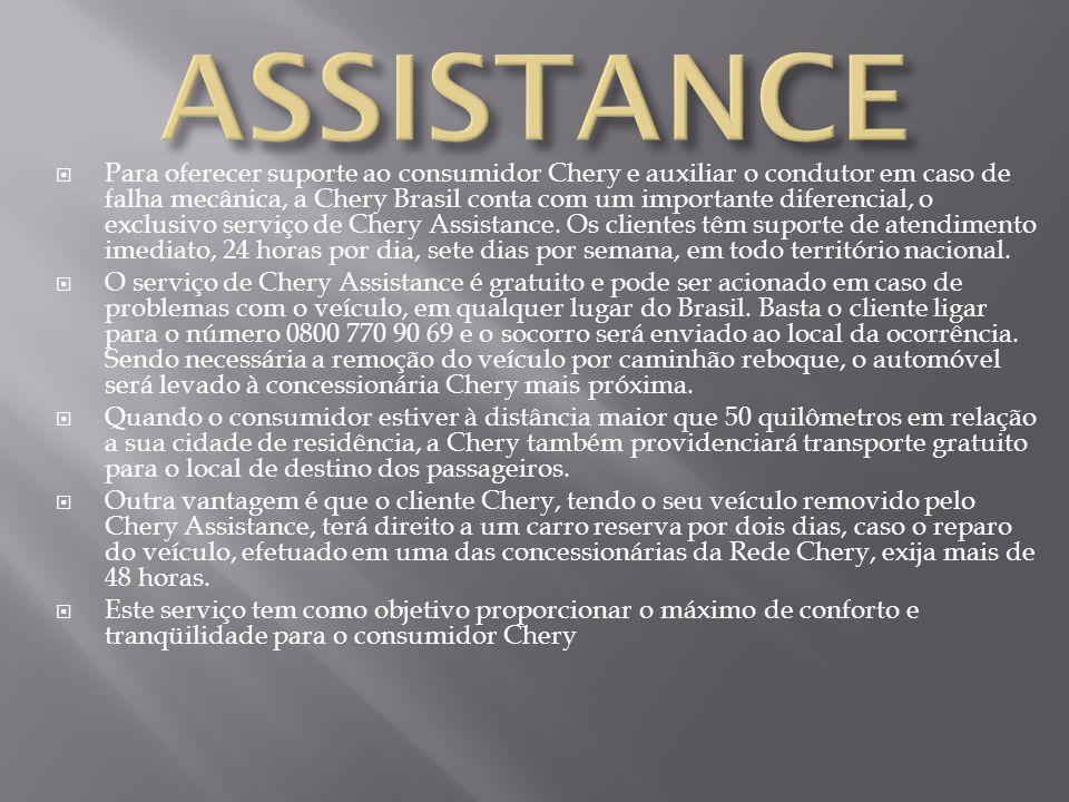 Para oferecer suporte ao consumidor Chery e auxiliar o condutor em caso de falha mecânica, a Chery Brasil conta com um importante diferencial, o exclu