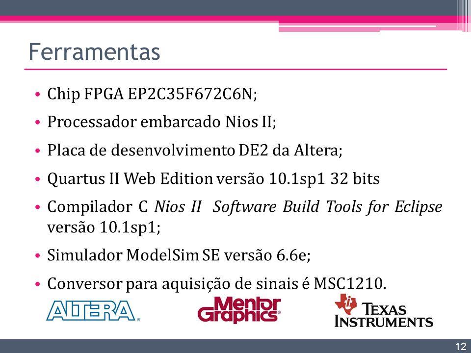 Chip FPGA EP2C35F672C6N; Processador embarcado Nios II; Placa de desenvolvimento DE2 da Altera; Quartus II Web Edition versão 10.1sp1 32 bits Compilad