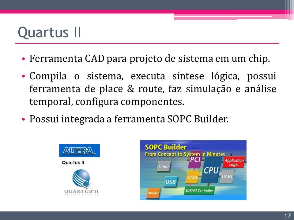Quartus II Ferramenta CAD para projeto de sistema em um chip. Compila o sistema, executa síntese lógica, possui ferramenta de place & route, faz simul
