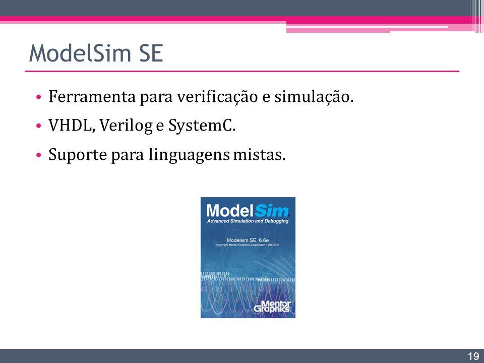 ModelSim SE Ferramenta para verificação e simulação. VHDL, Verilog e SystemC. Suporte para linguagens mistas. 19