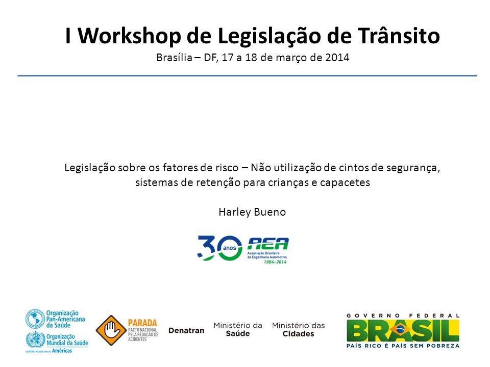 I Workshop de Legislação de Trânsito Brasília – DF, 17 a 18 de março de 2014 Legislação sobre os fatores de risco – Não utilização de cintos de segura