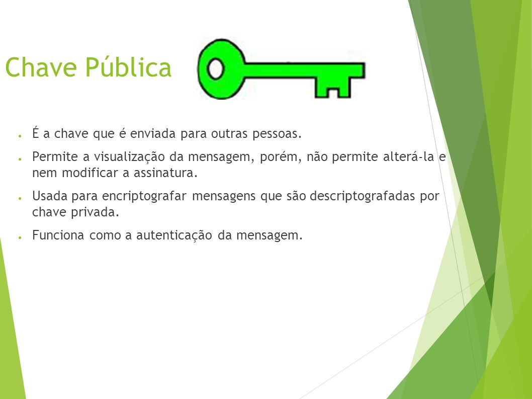 Chave Pública É a chave que é enviada para outras pessoas.