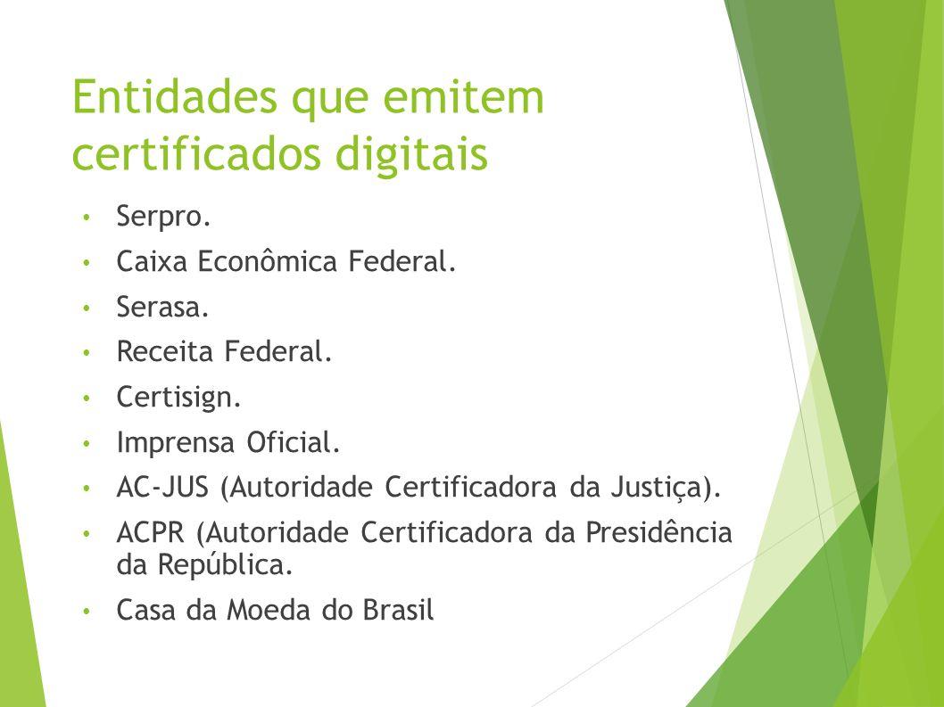 Entidades que emitem certificados digitais Serpro.