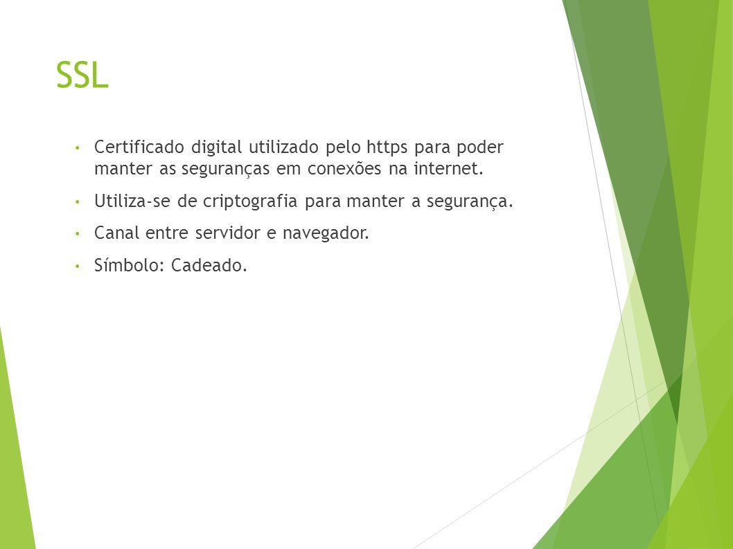SSL Certificado digital utilizado pelo https para poder manter as seguranças em conexões na internet.