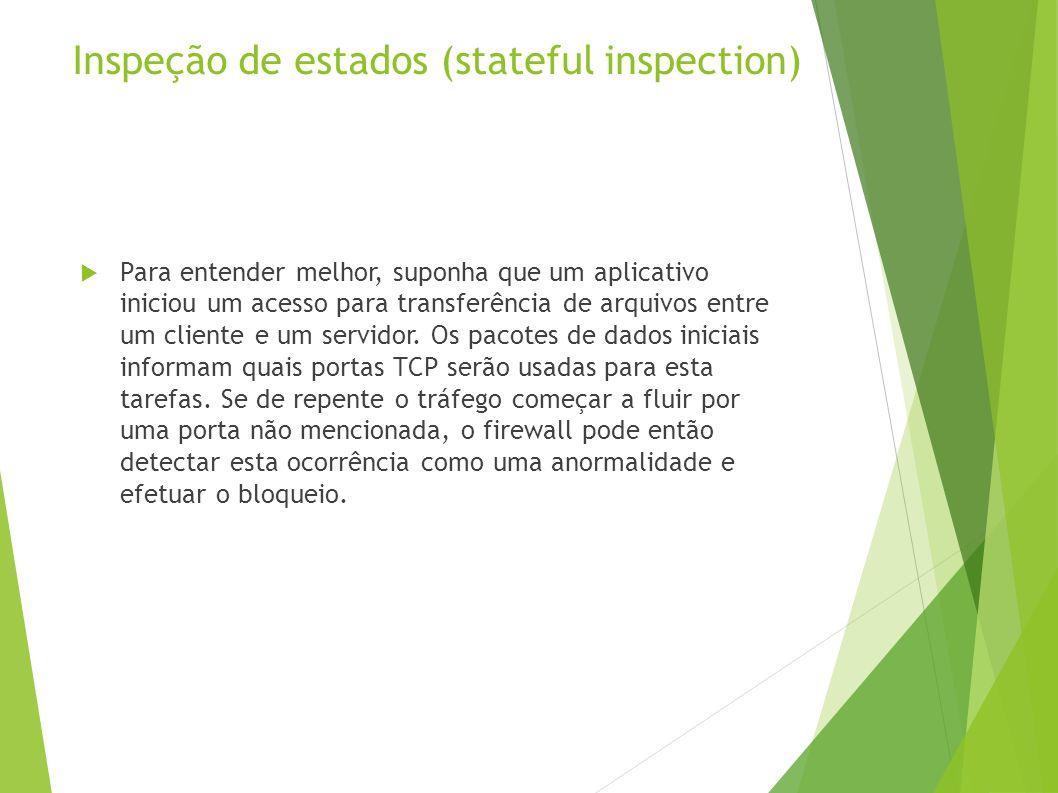 Inspeção de estados (stateful inspection) Para entender melhor, suponha que um aplicativo iniciou um acesso para transferência de arquivos entre um cliente e um servidor.