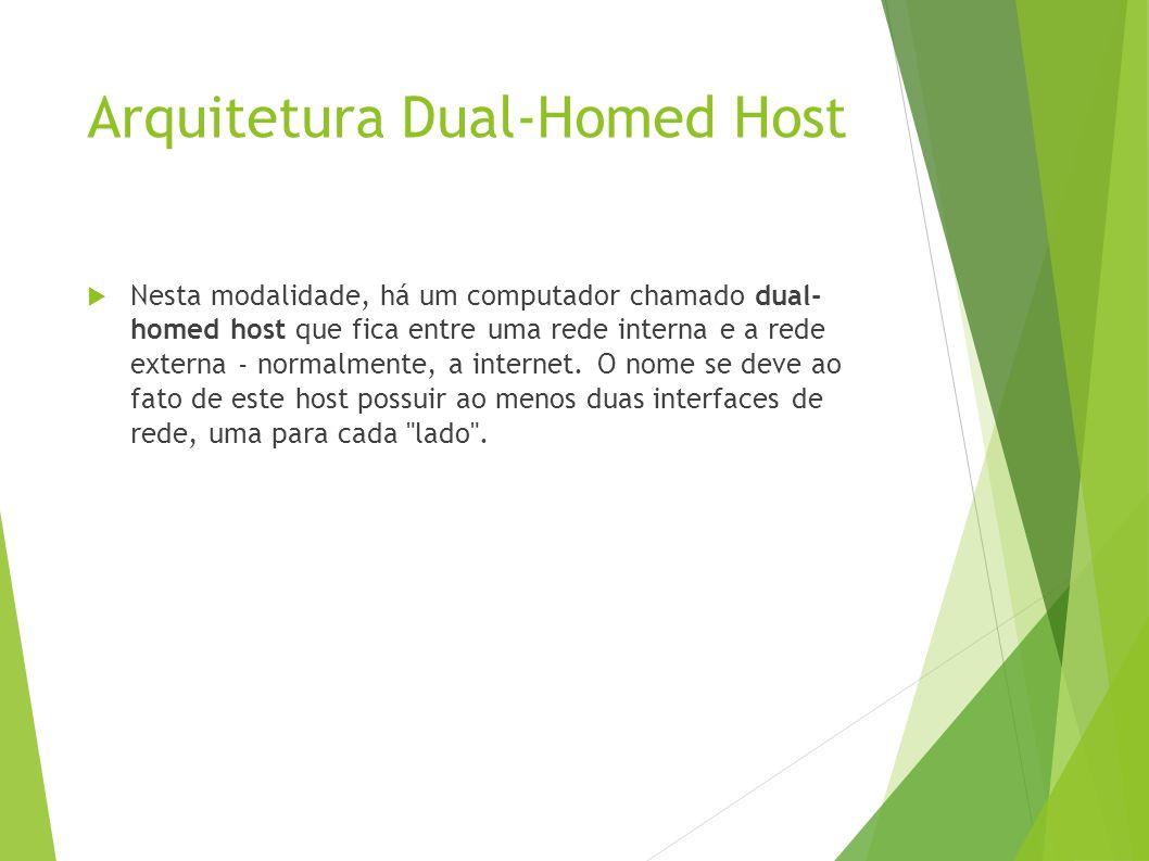 Arquitetura Dual-Homed Host Nesta modalidade, há um computador chamado dual- homed host que fica entre uma rede interna e a rede externa - normalmente, a internet.