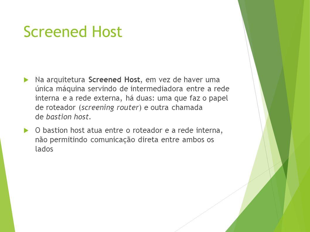 Screened Host Na arquitetura Screened Host, em vez de haver uma única máquina servindo de intermediadora entre a rede interna e a rede externa, há duas: uma que faz o papel de roteador (screening router) e outra chamada de bastion host.