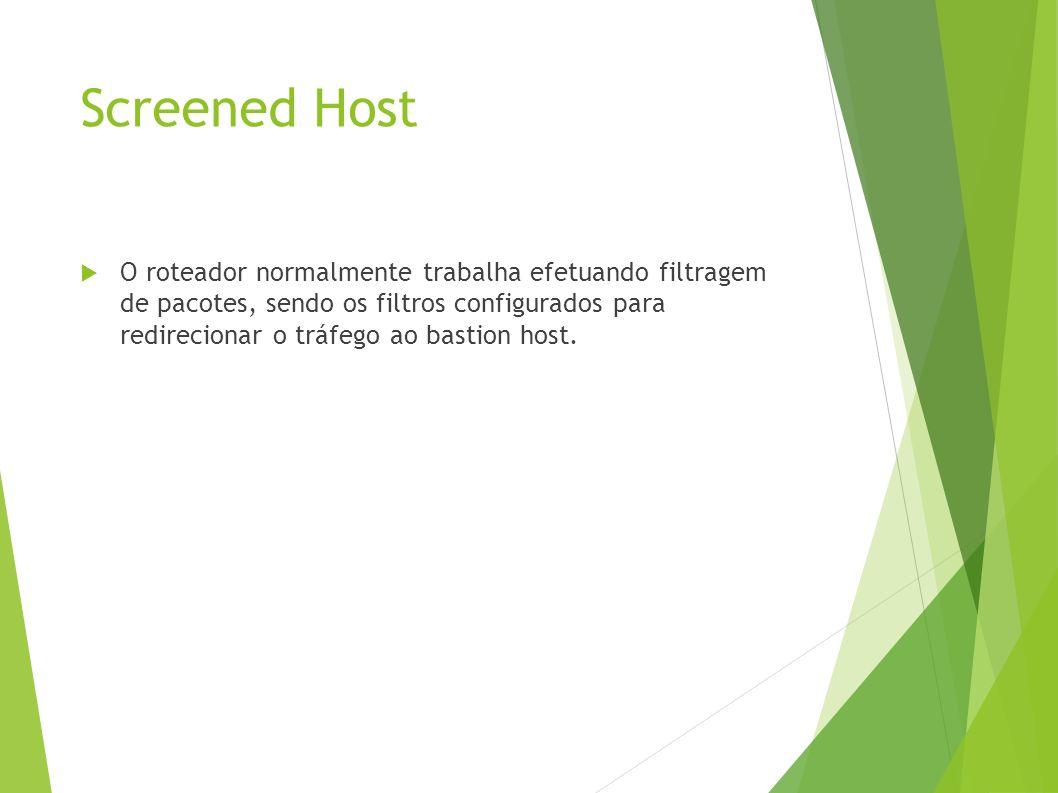 Screened Host O roteador normalmente trabalha efetuando filtragem de pacotes, sendo os filtros configurados para redirecionar o tráfego ao bastion host.