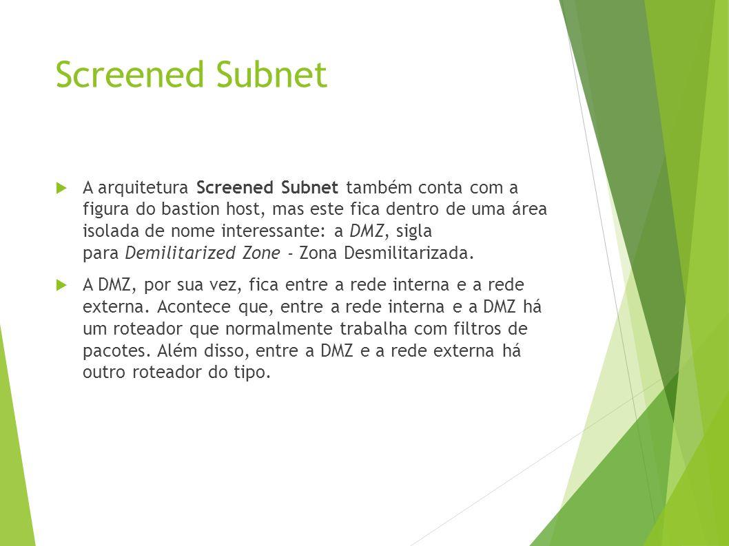 Screened Subnet A arquitetura Screened Subnet também conta com a figura do bastion host, mas este fica dentro de uma área isolada de nome interessante: a DMZ, sigla para Demilitarized Zone - Zona Desmilitarizada.