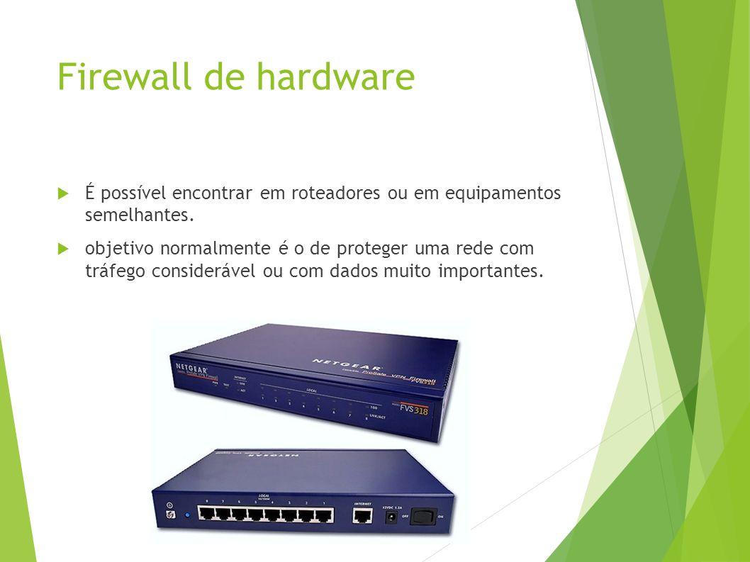 Firewall de hardware É possível encontrar em roteadores ou em equipamentos semelhantes.