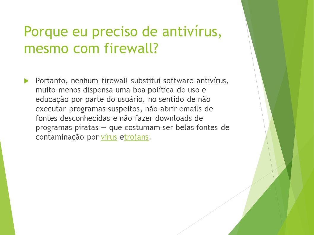 Porque eu preciso de antivírus, mesmo com firewall.
