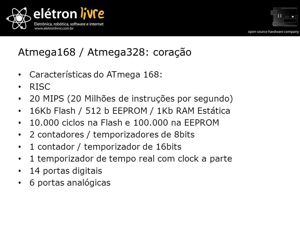 Atmega168 / Atmega328: coração Características do ATmega 168: RISC 20 MIPS (20 Milhões de instruções por segundo) 16Kb Flash / 512 b EEPROM / 1Kb RAM