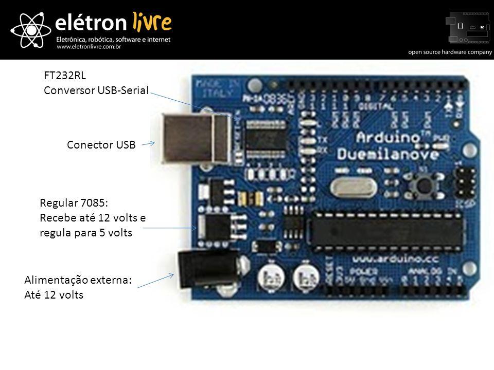 Conector USB Alimentação externa: Até 12 volts Regular 7085: Recebe até 12 volts e regula para 5 volts FT232RL Conversor USB-Serial
