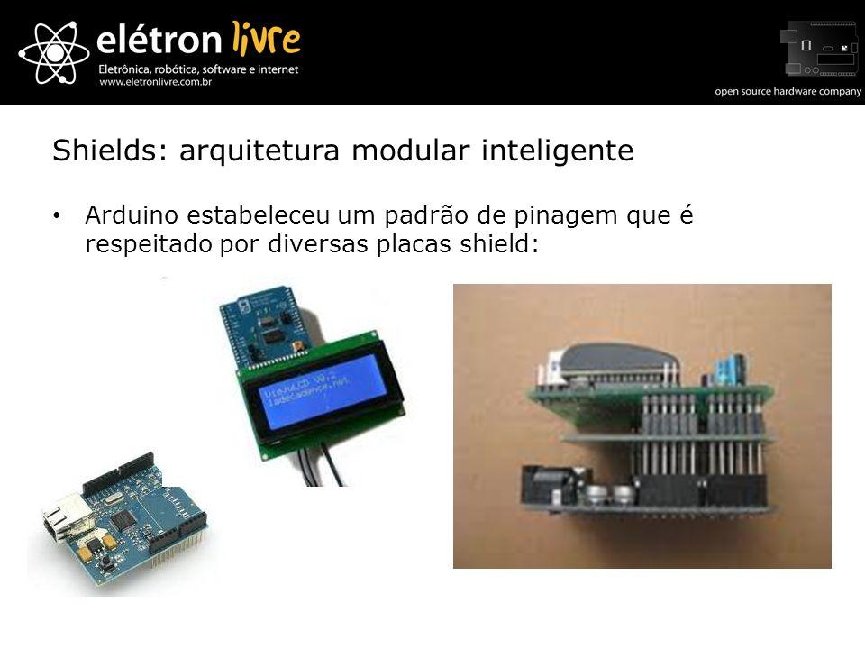 Shields: arquitetura modular inteligente Arduino estabeleceu um padrão de pinagem que é respeitado por diversas placas shield: