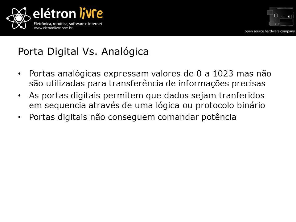 Porta Digital Vs. Analógica Portas analógicas expressam valores de 0 a 1023 mas não são utilizadas para transferência de informações precisas As porta