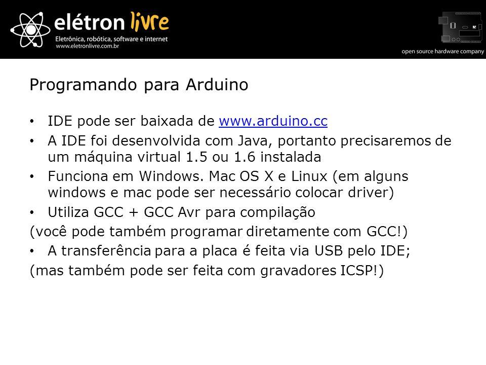 Programando para Arduino IDE pode ser baixada de www.arduino.ccwww.arduino.cc A IDE foi desenvolvida com Java, portanto precisaremos de um máquina vir