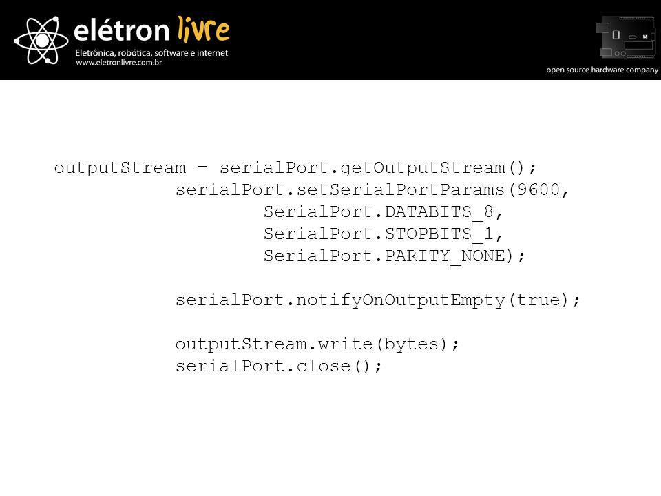 outputStream = serialPort.getOutputStream(); serialPort.setSerialPortParams(9600, SerialPort.DATABITS_8, SerialPort.STOPBITS_1, SerialPort.PARITY_NONE