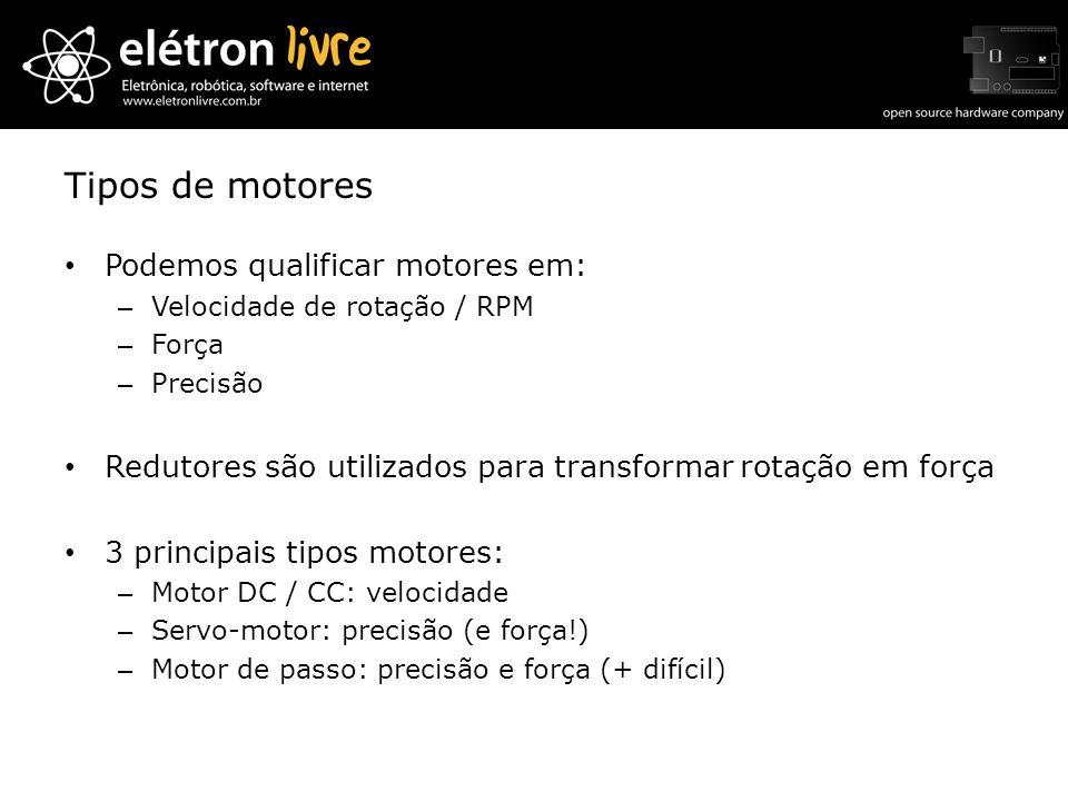 Tipos de motores Podemos qualificar motores em: – Velocidade de rotação / RPM – Força – Precisão Redutores são utilizados para transformar rotação em