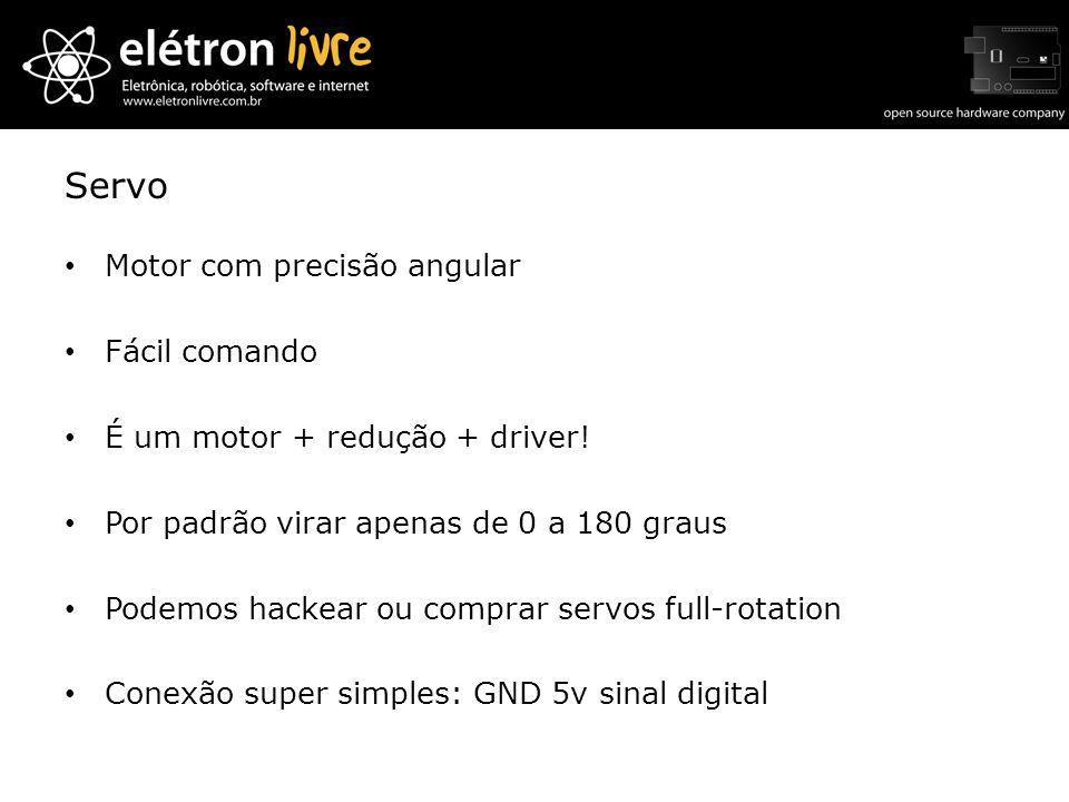Servo Motor com precisão angular Fácil comando É um motor + redução + driver! Por padrão virar apenas de 0 a 180 graus Podemos hackear ou comprar serv