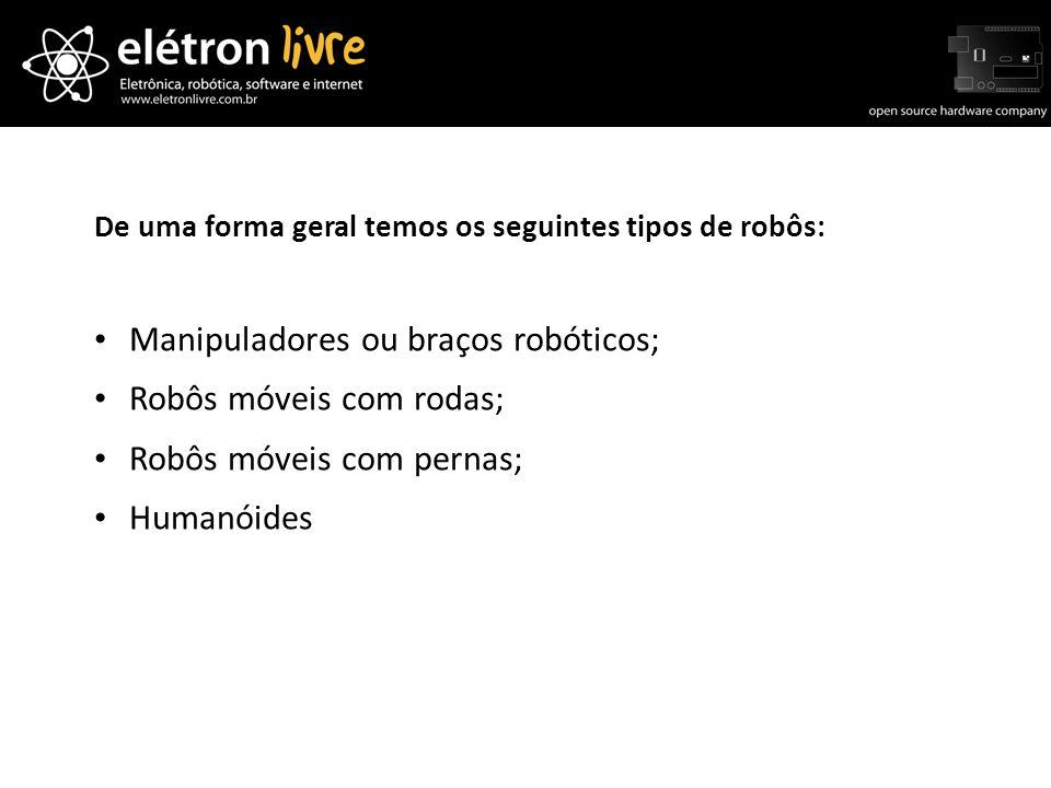 De uma forma geral temos os seguintes tipos de robôs: Manipuladores ou braços robóticos; Robôs móveis com rodas; Robôs móveis com pernas; Humanóides