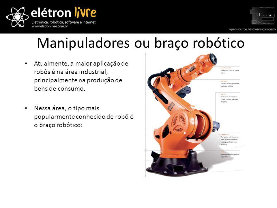 Manipuladores ou braço robótico Atualmente, a maior aplicação de robôs é na área industrial, principalmente na produção de bens de consumo. Nessa área