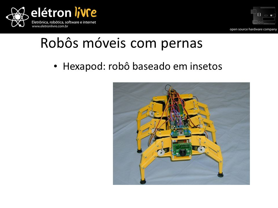 Robôs móveis com pernas Hexapod: robô baseado em insetos