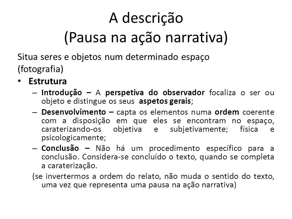 A descrição (Pausa na ação narrativa) Situa seres e objetos num determinado espaço (fotografia) Estrutura – Introdução – A perspetiva do observador fo