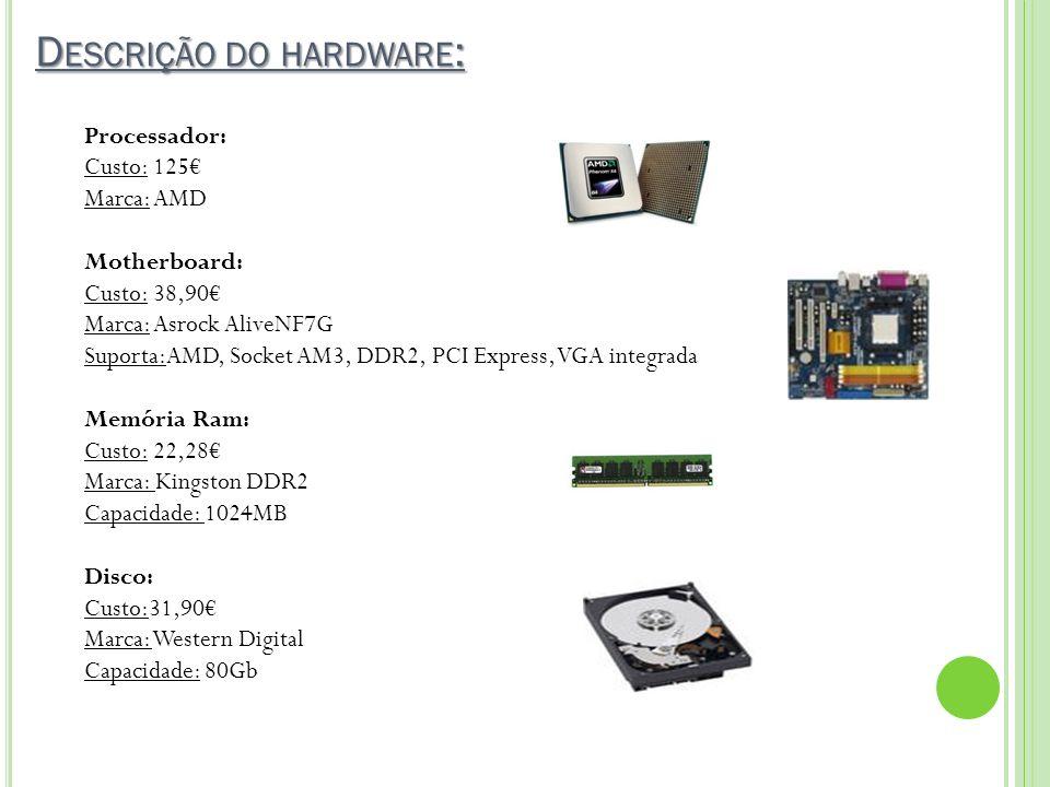 D ESCRIÇÃO DO HARDWARE : Processador: Custo: 125 Marca: AMD Motherboard: Custo: 38,90 Marca: Asrock AliveNF7G Suporta:AMD, Socket AM3, DDR2, PCI Expre
