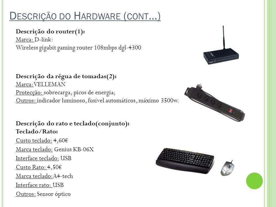 D ESCRIÇÃO DO H ARDWARE ( CONT …) Descrição do router(1): Marca: D-link: Wireless gigabit gaming router 108mbps dgl-4300 Descrição da régua de tomadas