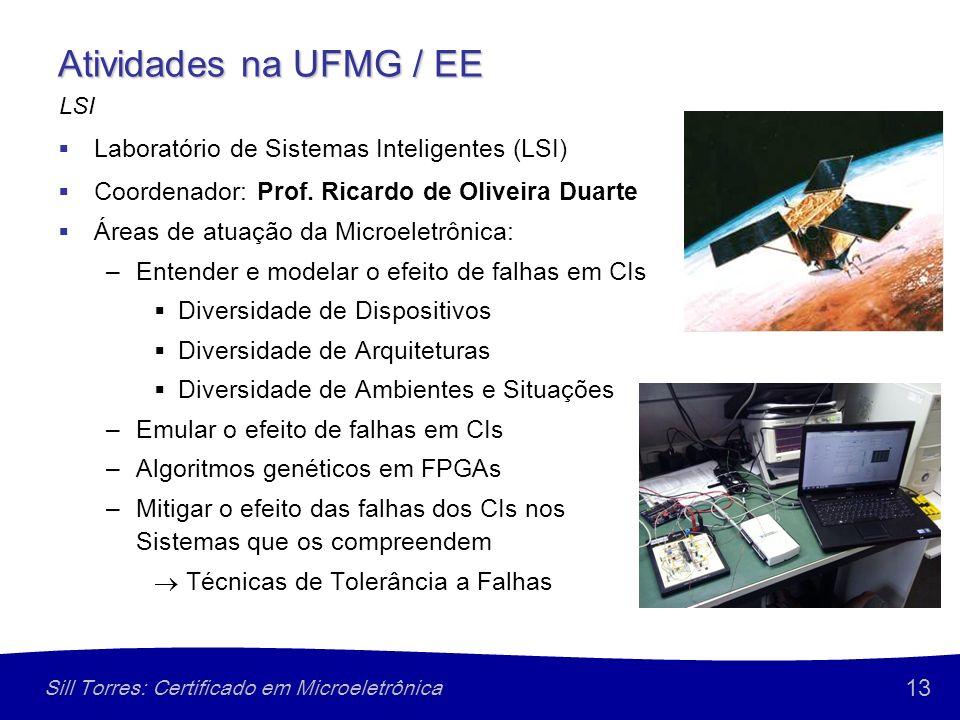 13 Sill Torres: Certificado em Microeletrônica Atividades na UFMG / EE Laboratório de Sistemas Inteligentes (LSI) Coordenador: Prof. Ricardo de Olivei