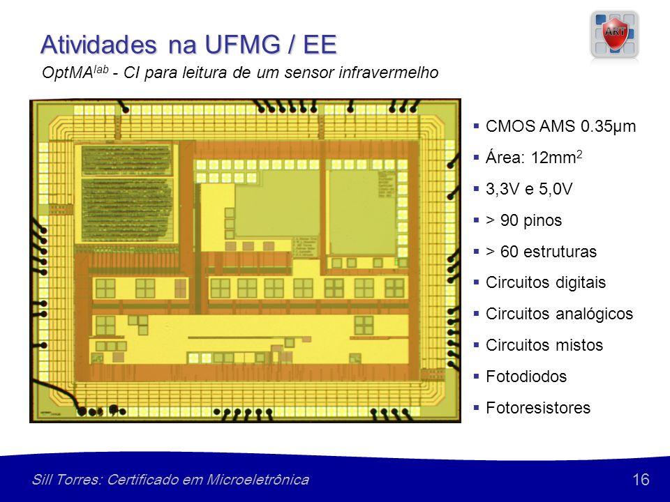 16 Sill Torres: Certificado em Microeletrônica CMOS AMS 0.35µm Área: 12mm 2 3,3V e 5,0V > 90 pinos > 60 estruturas Circuitos digitais Circuitos analógicos Circuitos mistos Fotodiodos Fotoresistores Atividades na UFMG / EE OptMA lab - CI para leitura de um sensor infravermelho