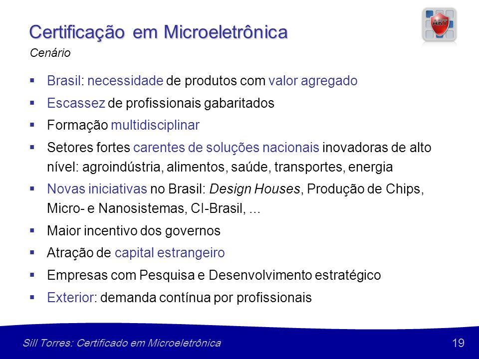 19 Sill Torres: Certificado em Microeletrônica Certificação em Microeletrônica Brasil: necessidade de produtos com valor agregado Escassez de profissi