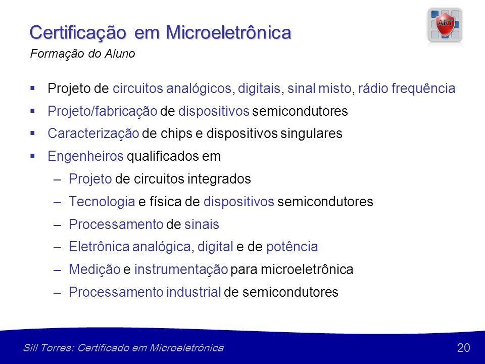 20 Sill Torres: Certificado em Microeletrônica Certificação em Microeletrônica Projeto de circuitos analógicos, digitais, sinal misto, rádio frequênci