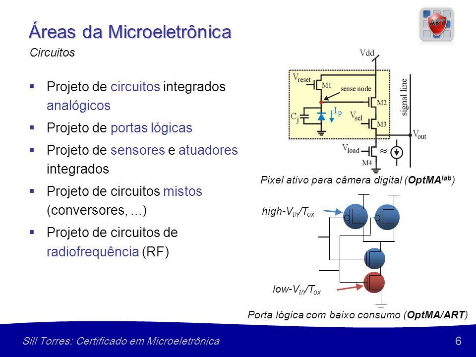 6 Sill Torres: Certificado em Microeletrônica Áreas da Microeletrônica Projeto de circuitos integrados analógicos Projeto de portas lógicas Projeto de sensores e atuadores integrados Projeto de circuitos mistos (conversores,...) Projeto de circuitos de radiofrequência (RF) Circuitos Pixel ativo para câmera digital (OptMA lab ) high-V th /T ox low-V th /T ox Porta lógica com baixo consumo (OptMA/ART)