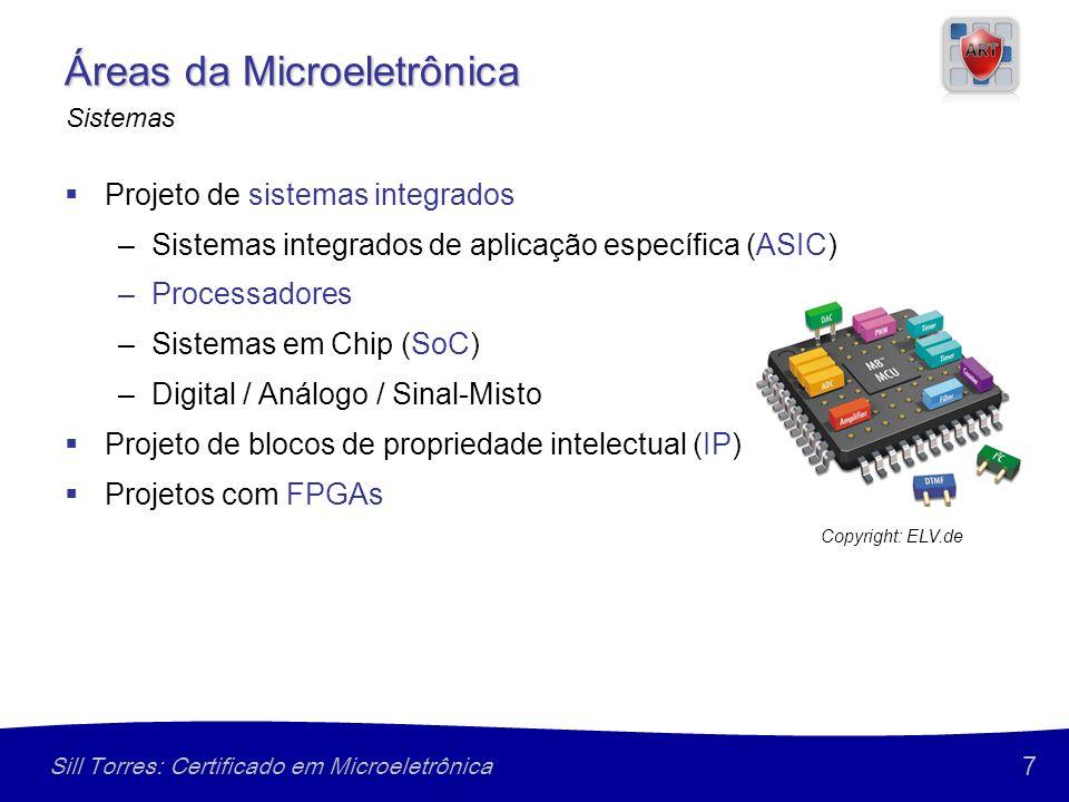 7 Sill Torres: Certificado em Microeletrônica Áreas da Microeletrônica Projeto de sistemas integrados –Sistemas integrados de aplicação específica (ASIC) –Processadores –Sistemas em Chip (SoC) –Digital / Análogo / Sinal-Misto Projeto de blocos de propriedade intelectual (IP) Projetos com FPGAs Sistemas Copyright: ELV.de