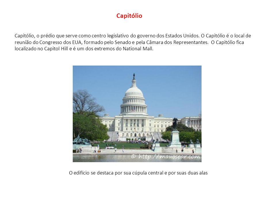 Capitólio, o prédio que serve como centro legislativo do governo dos Estados Unidos. O Capitólio é o local de reunião do Congresso dos EUA, formado pe