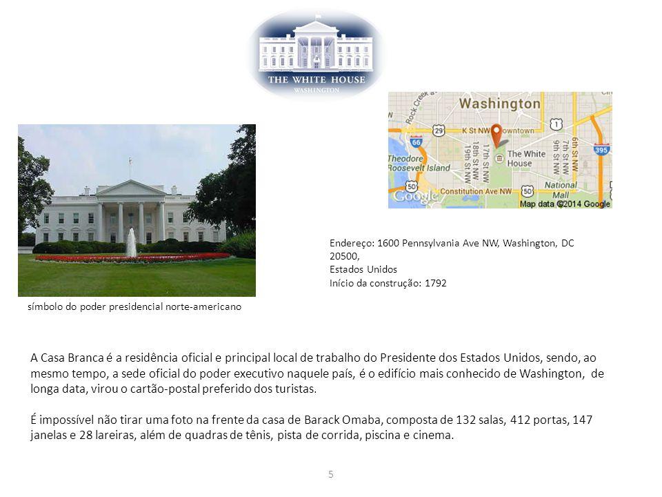 5 símbolo do poder presidencial norte-americano Endereço: 1600 Pennsylvania Ave NW, Washington, DC 20500, Estados Unidos Início da construção: 1792 A