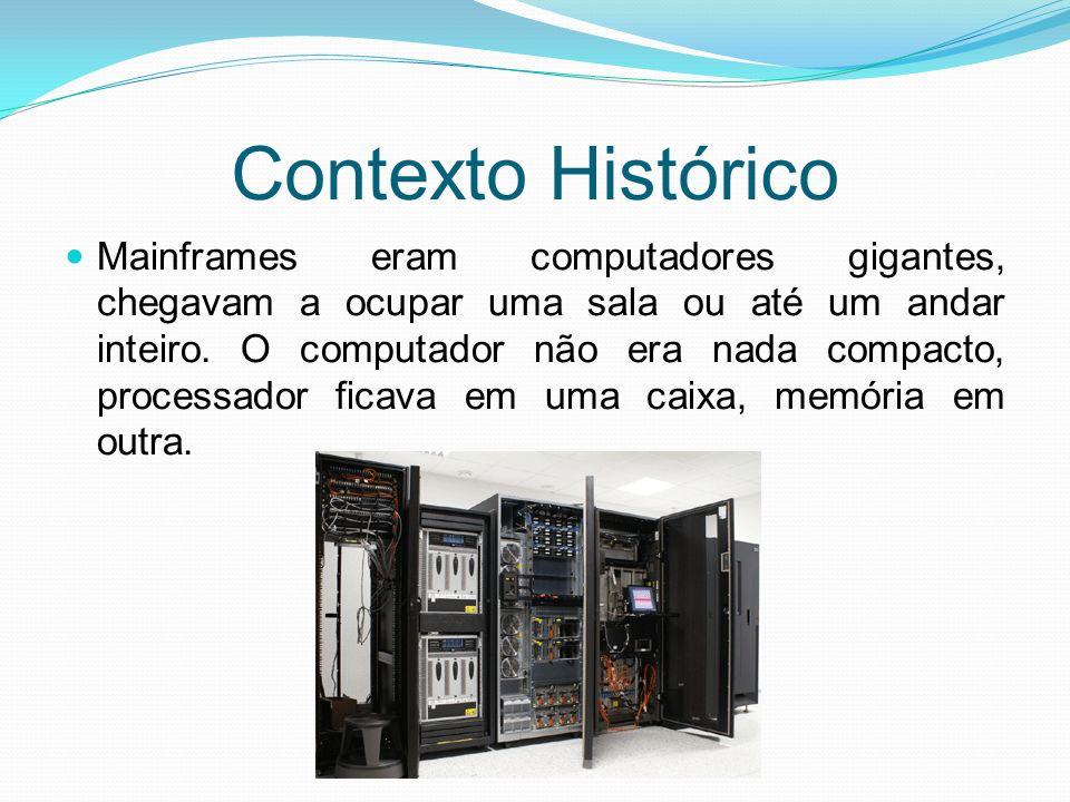 Contexto Histórico Mainframes eram computadores gigantes, chegavam a ocupar uma sala ou até um andar inteiro. O computador não era nada compacto, proc