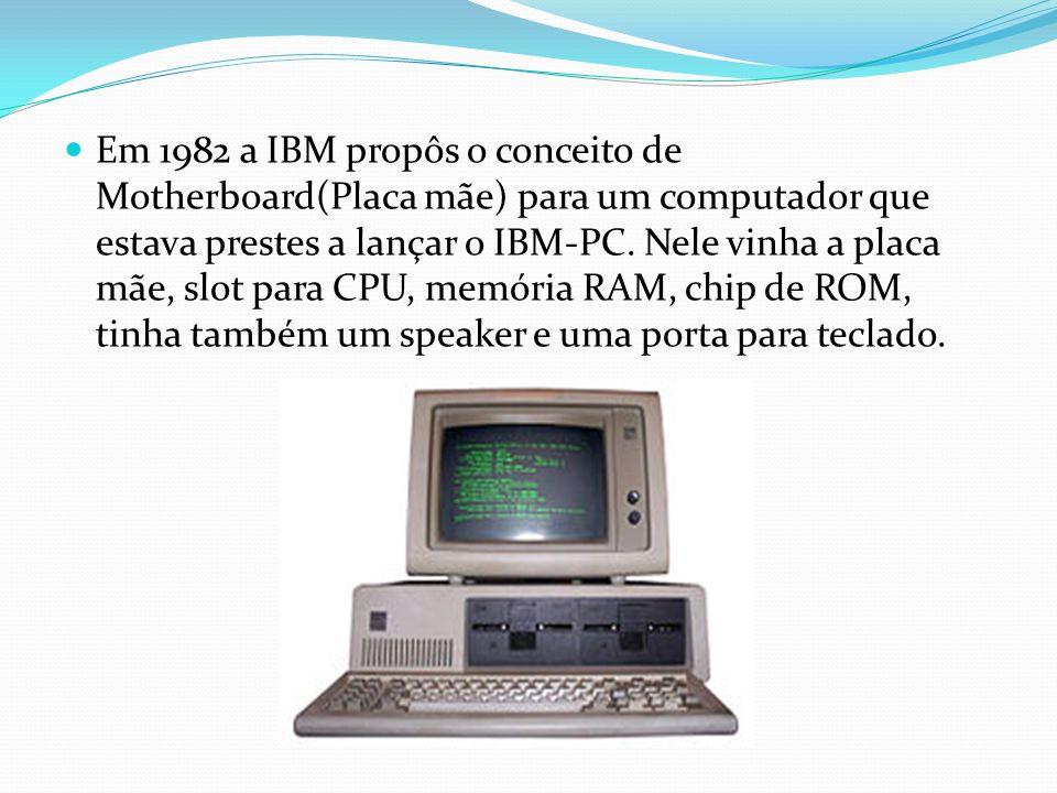 Em 1982 a IBM propôs o conceito de Motherboard(Placa mãe) para um computador que estava prestes a lançar o IBM-PC. Nele vinha a placa mãe, slot para C