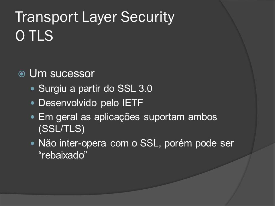 Transport Layer Security O TLS Um sucessor Surgiu a partir do SSL 3.0 Desenvolvido pelo IETF Em geral as aplicações suportam ambos (SSL/TLS) Não inter-opera com o SSL, porém pode ser rebaixado