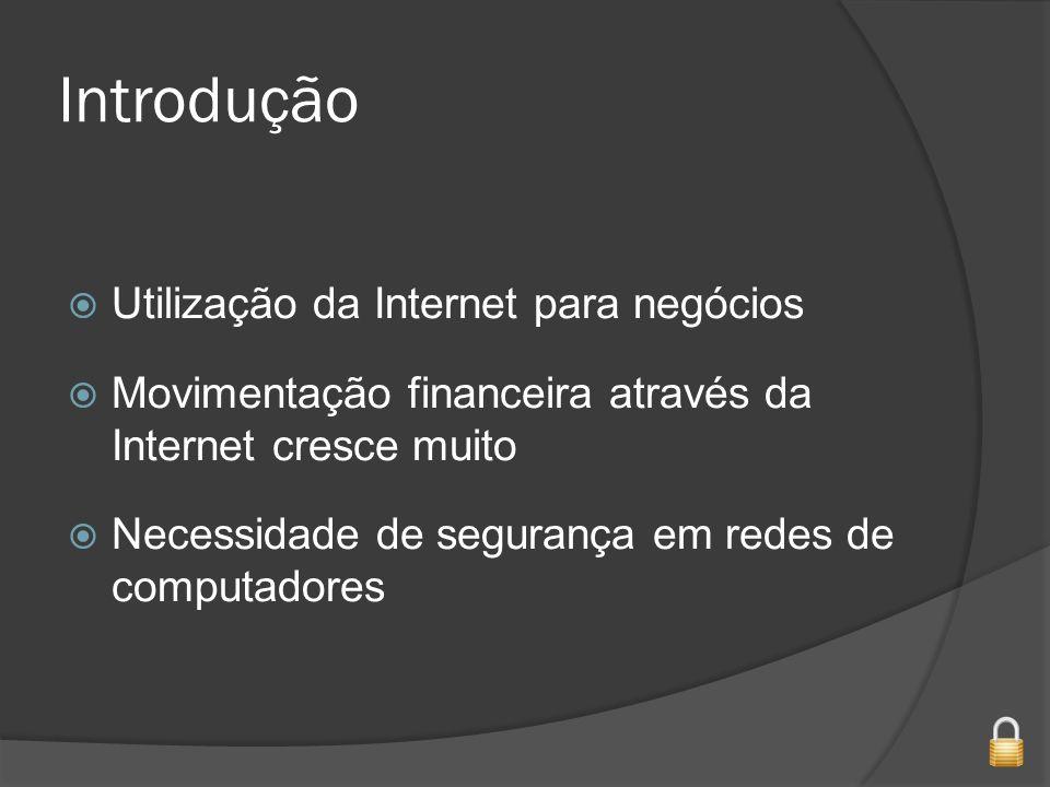 Introdução Utilização da Internet para negócios Movimentação financeira através da Internet cresce muito Necessidade de segurança em redes de computadores