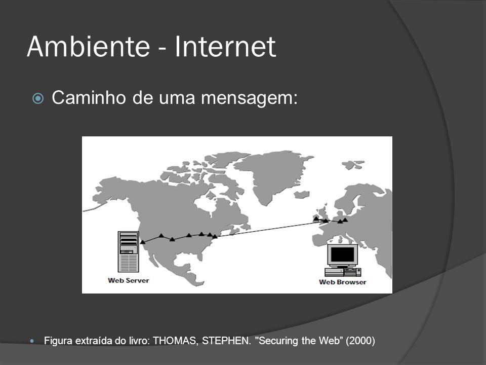 Ambiente - Internet Caminho de uma mensagem: Figura extraída do livro: THOMAS, STEPHEN.