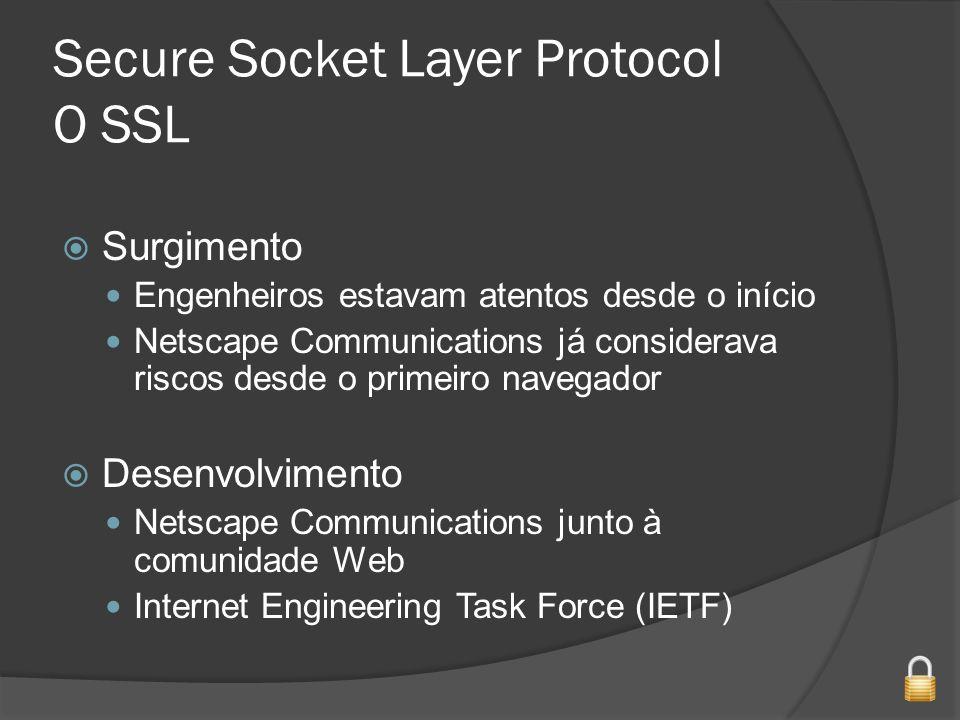 Secure Socket Layer Protocol O SSL Surgimento Engenheiros estavam atentos desde o início Netscape Communications já considerava riscos desde o primeiro navegador Desenvolvimento Netscape Communications junto à comunidade Web Internet Engineering Task Force (IETF)