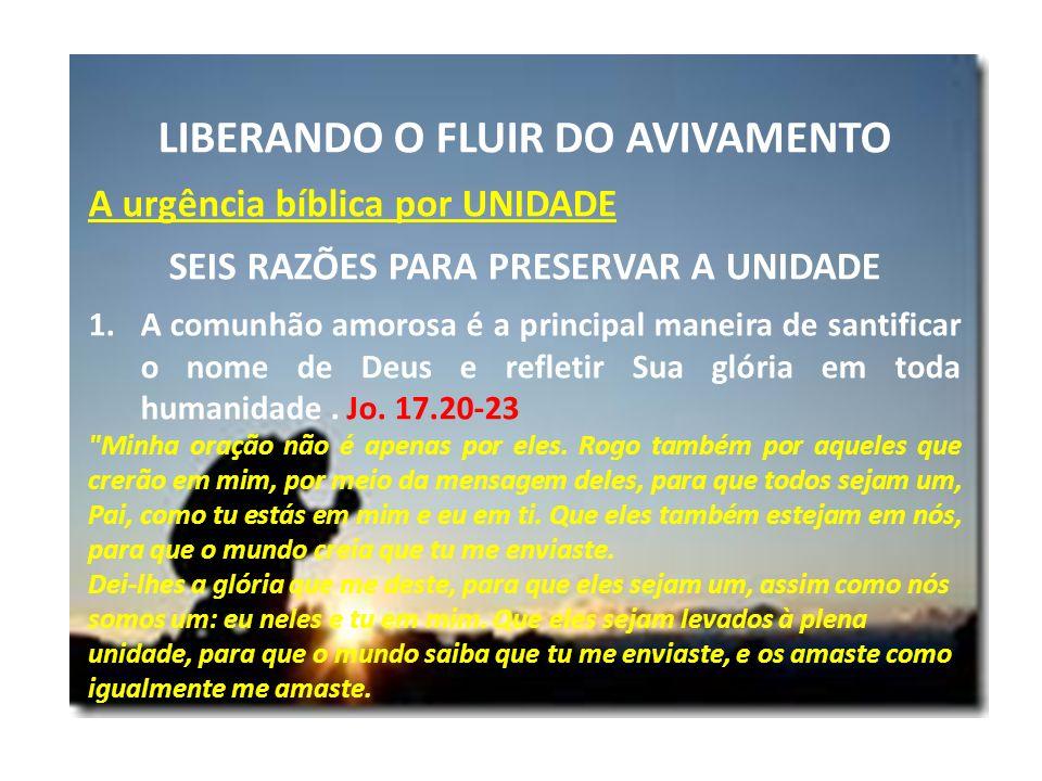 LIBERANDO O FLUIR DO AVIVAMENTO A urgência bíblica por UNIDADE SEIS RAZÕES PARA PRESERVAR A UNIDADE 1.A comunhão amorosa é a principal maneira de sant