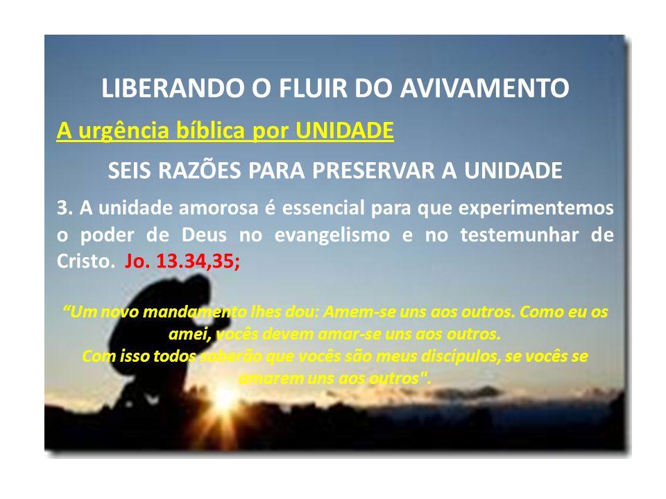 LIBERANDO O FLUIR DO AVIVAMENTO A urgência bíblica por UNIDADE SEIS RAZÕES PARA PRESERVAR A UNIDADE 3. A unidade amorosa é essencial para que experime