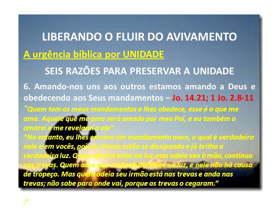 LIBERANDO O FLUIR DO AVIVAMENTO A urgência bíblica por UNIDADE SEIS RAZÕES PARA PRESERVAR A UNIDADE 6. Amando-nos uns aos outros estamos amando a Deus