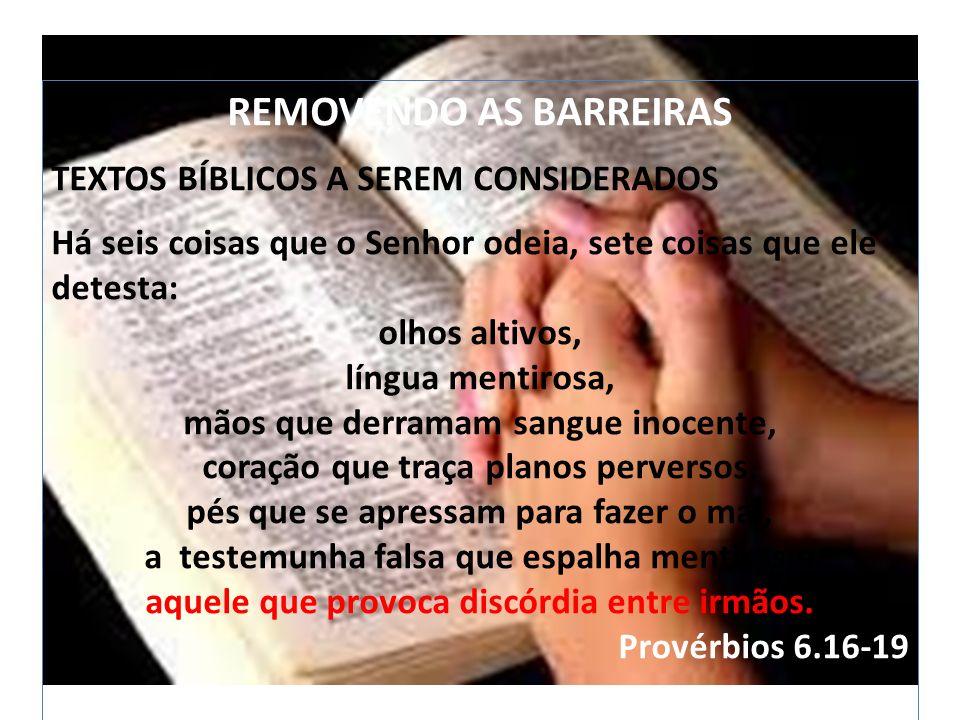 O AS BARREIRAS REMOVENDO AS BARREIRAS TEXTOS BÍBLICOS A SEREM CONSIDERADOS Há seis coisas que o Senhor odeia, sete coisas que ele detesta: olhos altiv